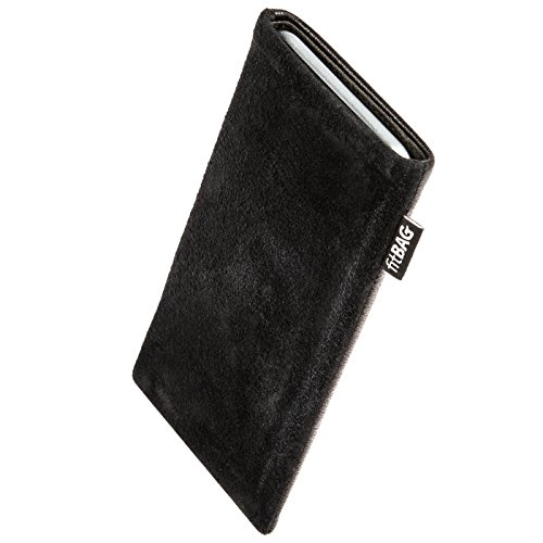 fitBAG Fusion Black/Black custom tailored sleeve for Silent Circle Blackphone 2. Nappa/Suede leather mix Pouch with integrated MicroFibre lining for display cleaning