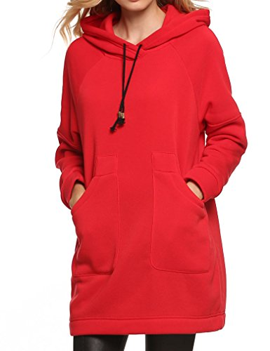 Qearl Women Autumn Loose Warm Pocket Pullover Hoodie Tunic Sweatshirt (XL, Red)