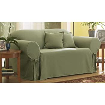 sure fit cotton duck loveseat slipcover sage sf33051