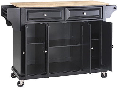 Crosley Furniture Rolling Kitchen Island with Natural Wood Top - Black by Crosley Furniture (Image #2)