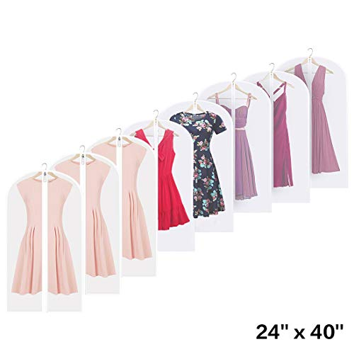 Linseray 8 Pack Hanging Garment Bag, 24'' x 40'' Suit Bags Breathable Moth Proof Garment Cover with Full Zipper for Long Dress Dance Costumes Suits Gowns Coats (Bag Garment 40' Suit)