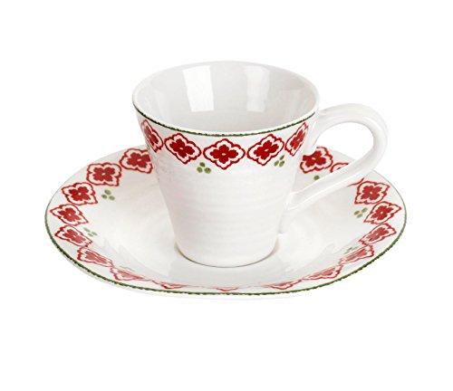 Portmeirion Sophie Conran Christmas Espresso Cup & Saucer Candy Cane -