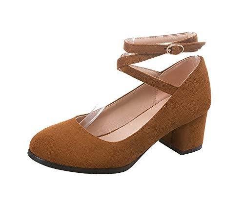 Légeres Unie À Brun Agoolar Gmbdb011835 Chaussures Femme Correct Clair Boucle Couleur Talon TwCgq8C