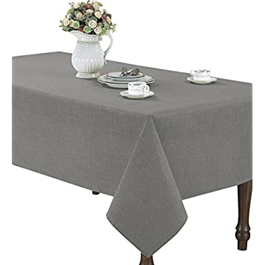 Euphoria CaliTime High Class Linen Blend Tablecloth Solid Grey Color 60  X 102  Rectangle
