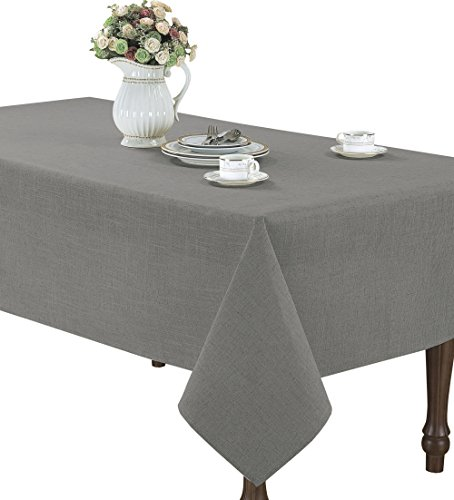 CaliTime High Class Linen Blend Tablecloth Solid Grey Color 60' X 120' Rectangle
