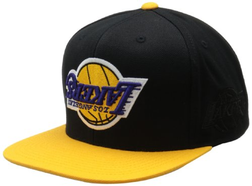 f3bb21a71c4dd Hall Of Fame X Mitchell and Ness LA Lakers Upside Down Snapback ...