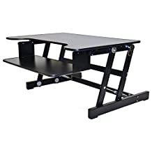 """Rocelco ADR Height Adjustable Sit/Stand Desk Computer Riser, Dual Monitor Capable, 50lb Capacity - 32"""" wide With Retractable Keyboard Tray - Black Finish"""