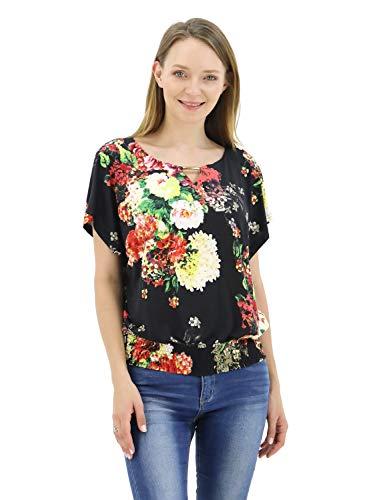 BENANCY Womens Batwing Banded Bottom Shirring Dolman Tops Tshirt Black ()