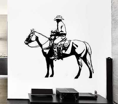 Wall Decal Horse Riding Cowboy Rider Saddle Animal Bridle Vinyl Stickers VS223