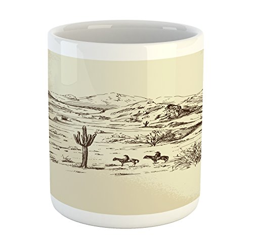 Ambesonne Western Mug, Wild West Landscape Illustration with Mountains Desert Plants Cowboys on Horses, Printed Ceramic Coffee Mug Water Tea Drinks Cup, Beige Black