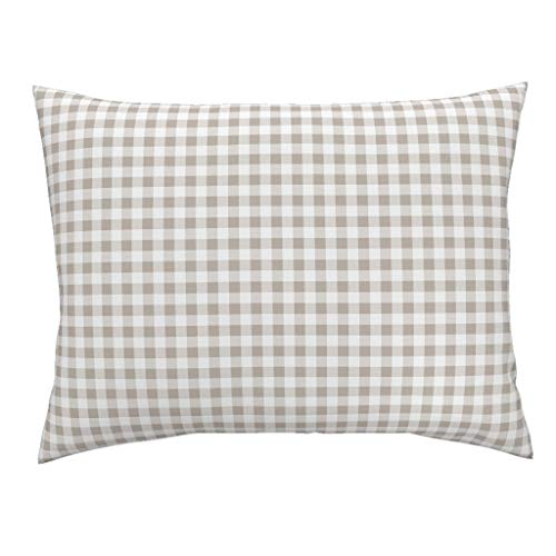 (Roostery Beige Gingham Standard Knife Edge Pillow Sham Tan White Neutral Gingham Check Plaid Belgium Gingham Taupe Tartan Plaid Tan Country Checks by Lilyoake 100% Cotton)