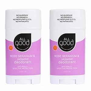 All Good Natural Deodorant for Women, Men, Kids - Organic Ingredients & Essential Oils - Aluminum Free - Non GMO - Vegan - 2.5 oz Stick (Rose Geranium & Jasmine)(2-Pack)