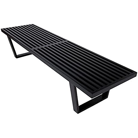 LeisureMod 6 Mid Century Inwood Platform Bench In Black