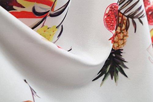 Vestido Blanco Mujer de para Fiesta Vestidos Playa V A Estampado de en Skater Sin Casual Cuello Jitong Plisados Mangas Línea EqgwT4H1c
