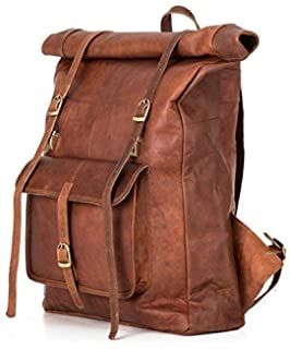 46dcb24de7 Roll Top Backpack rucksack for women men vintage water resistant leather  brown big xl
