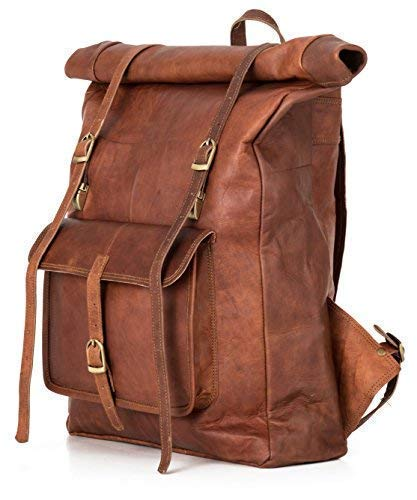 (Roll Top Backpack Rucksack for Women Men Vintage Water Resistant Leather Brown Big xl)