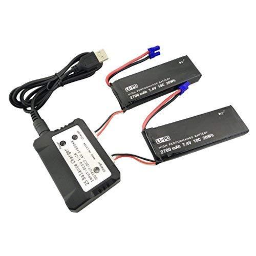 Fytoo Accesorios 2PCS 7.4V 2700mah Bater/ía de Litio y 2 en 1 Cargador para Hubsan x4 H501SPro H501A H501C H501S H501M H501S W Repuestos de RC Quadcopter sin escobillas