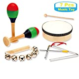 MUSICUBE Kids Wood Musical Instruments, Percussion Set with Drums for Kids Children, ASTM Certified Toddler Musical Toys, 7 Pcs
