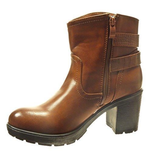Angkorly - damen Schuhe Stiefeletten - Biker - Schlangenhaut - Nieten - besetzt - Schleife Blockabsatz high heel 6.5 CM - Camel