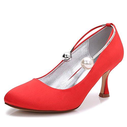 Custom L 63 Wedding Beads yc Cerrado 17061 Evening Altos T De Party Boda Red Toe amp; Tacones La Shoes aA8Ha