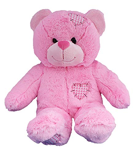 Stuffems Toy Shop Record Your Own Plush 16 inch Pink Patches Teddy Bear - Ready to Love in A Few Easy Steps