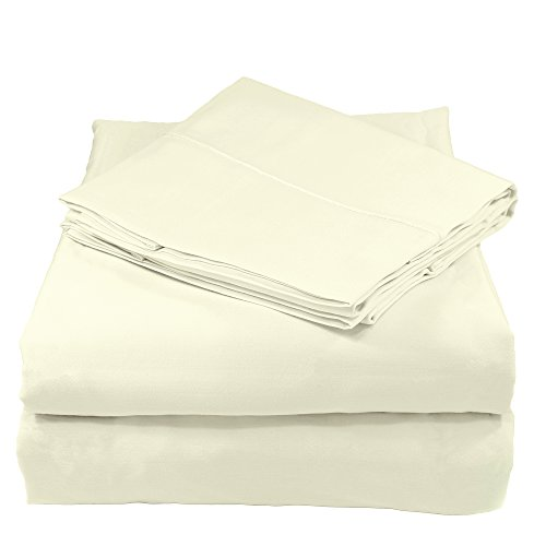 Whisper Organics Bed Sheets, Organic 100% Cotton Sheet Set, 500 Thread Count, 4 Piece: Fitted Sheet, Flat Sheet + 2 Pillowcases, Full, ()