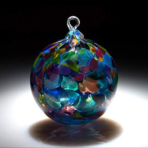 Ornament. Sun catcher. Hand blown Fine Art Glass Ornament in Blue Magic. Made in Seattle. Artist Dehanna -