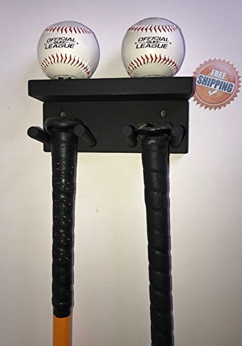 Baseball Bat Rack Display Rack Wall Mount Black 3 Full Size Bats 2 Balls Holder
