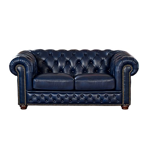 Coja by Sofa4life Pinehurst Leather Loveseat, Blue ()