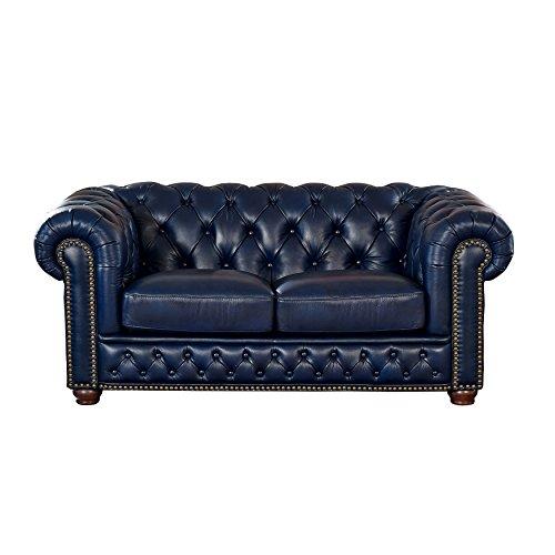 Coja by Sofa4life Pinehurst Leather Loveseat, Blue