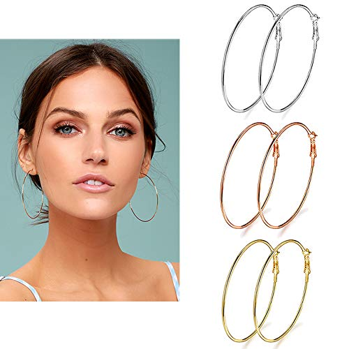3 Pairs Big Hoop Earrings, Stainless Steel Hoop Earrings in Gold Plated Rose Gold Plated Silver for Women Girls(70mm) from Holfeun