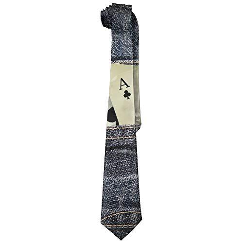Gambling Silk Tie - Jeans Playing Cards Gambling Polyester Neckwear Silk Neck Tie, Gentleman Cool Personalized Classic Neckties,Graduation Meeting Business Casual Skinny Ties