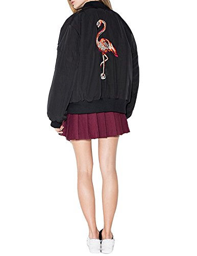 HaoDuoYi Womens Classic Flamingo Embroidery Lightweight Bomber Jacket(S,Black) 41kjiaiK 2BWL