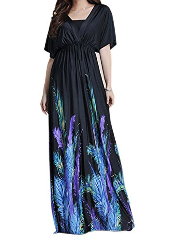Zuku Life Women's V-Neck Versatile Long Floral Print Maxi Dress COLOR1 TAG 3XL