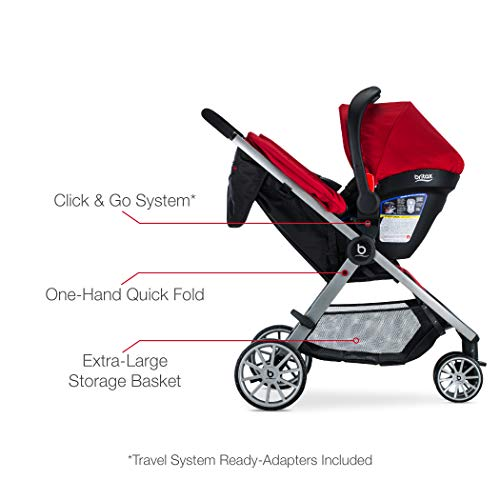 41kjipWvWIL - BRITAX B-Lively Travel System With B-Safe 35 Infant Car Seat | One Hand Fold, XL Storage, Ventilated Canopy, Easy To Maneuver, Cardinal
