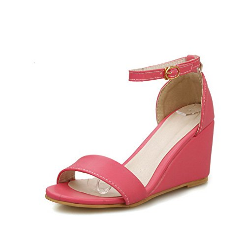 AllhqFashion Womens Buckle PU Open Toe High-Heels Solid Wedges-Sandals Rosered 871qEd