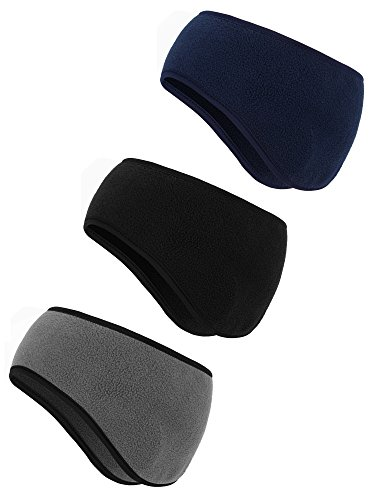 Fleece Headband Ear Warmer - BBTO 3 Pieces Ear Warmer Headband Winter Headbands Fleece Headband for Men and Women (Color Set 1)