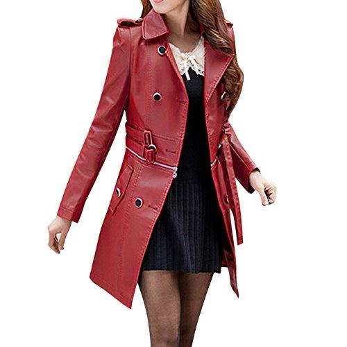 Egelbel Women Styish Pu Leather Long Coat Windbreaker Jacket