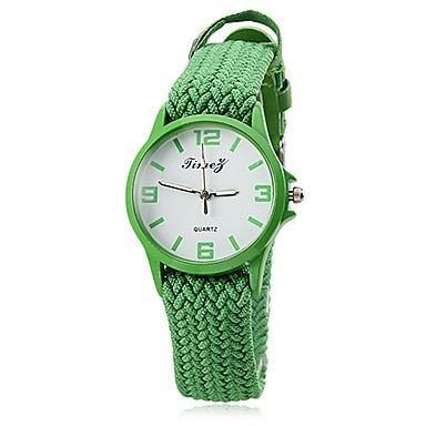 Unisex Analog Quartz Fabric Elastic Braid Band Wrist Watch Green