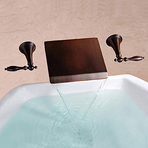 Giow Basin Tap Modern Wall-Mounted Lightweight Kitchen Bathroom Desktop Waterfall Basin Faucet, Double Handle Hot and Cold Water, Bronze Accessories, 43 25 7cm (Color : Bronze)