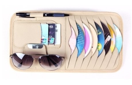 CD Sun Visor Organizer Detachable Portable PU Leather with 8 CD Slots + 3 Credit Cards Pockets + 1 Sunglasses Holder + 1 Pen holder- - Sunglasses Flour