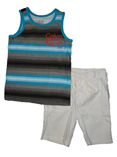 Calvin Klein Boys 2 Pc Tank Top & Shorts Set, Blue
