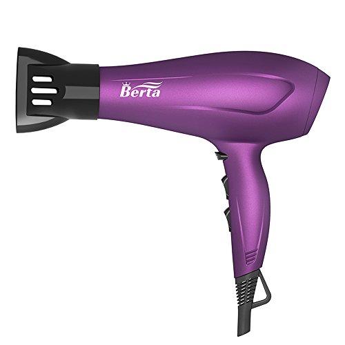 BERTA 1875 Watts Negative Ionic Blow Dryer Soft Touch Finish Tourmaline Ceramic Hair Dryer, Purple