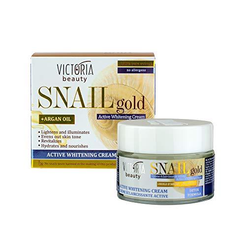 Victoria Beauty – Aufhellende Gesichtscreme mit Schnecken-Extrakt und Arganöl – Anti-Aging Wirkung – gleicht Hauttöne aus und befeuchtet tief – Snail Gold Detox Formula – 50ml