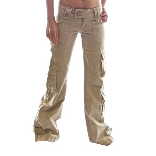 Molecule Women's Himalayan Hipsters Low Rise Flared Khaki Cargo Pants | USA 10/L (Tag 2XL) Desert Khaki Cream