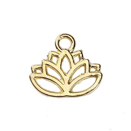PEPPERLONELY 100pc Plated Gold Alloy Lotus Flower Charms Pendants 17x15mm (5/8
