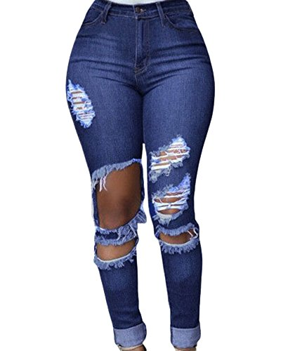 Womens Jeans Cut Out Ripped Punk Skinny Trousers Hollow Out Leggings Dark Blue M