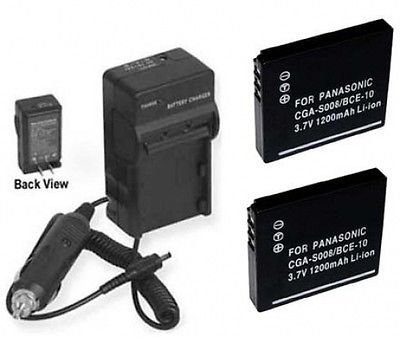 TWO Batteries + Charger for Panasonic SDR-S7 SDR-S7S SDR-S7K, Panasonic SDR-S7P/PC, Panasonic SDR-S7PC