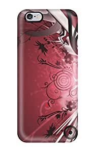 Snap-on Case Designed For Iphone 6 Plus- Pretty Flower And Red