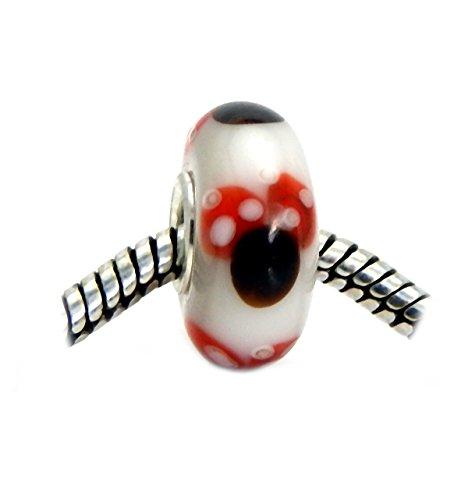 J&M Handmade Minnie Mouse Murano Glass Charm Bead for Bracelets